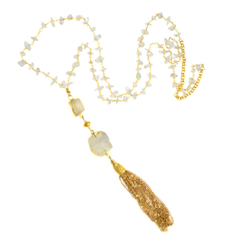 Crystal Quartz Beaded Chain with Two Gold Rimmed Moonstone Pendants - Tassel Pendant Necklace