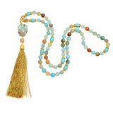 Blue Fire Agate with Golden Quartz and Turquoise Beads/Pendant - Tassel Pendant Necklace