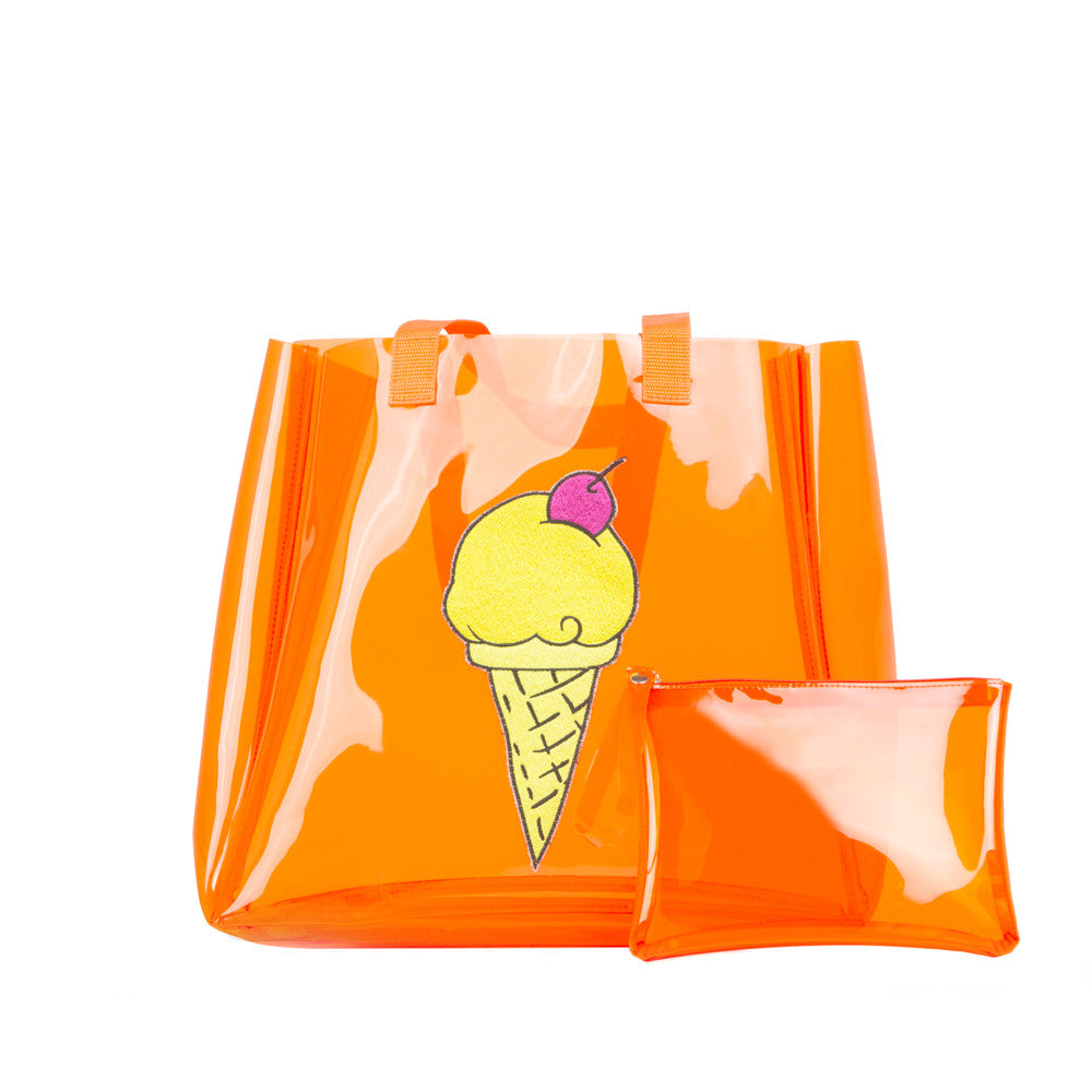 Clear Orange Ice Cream Tote