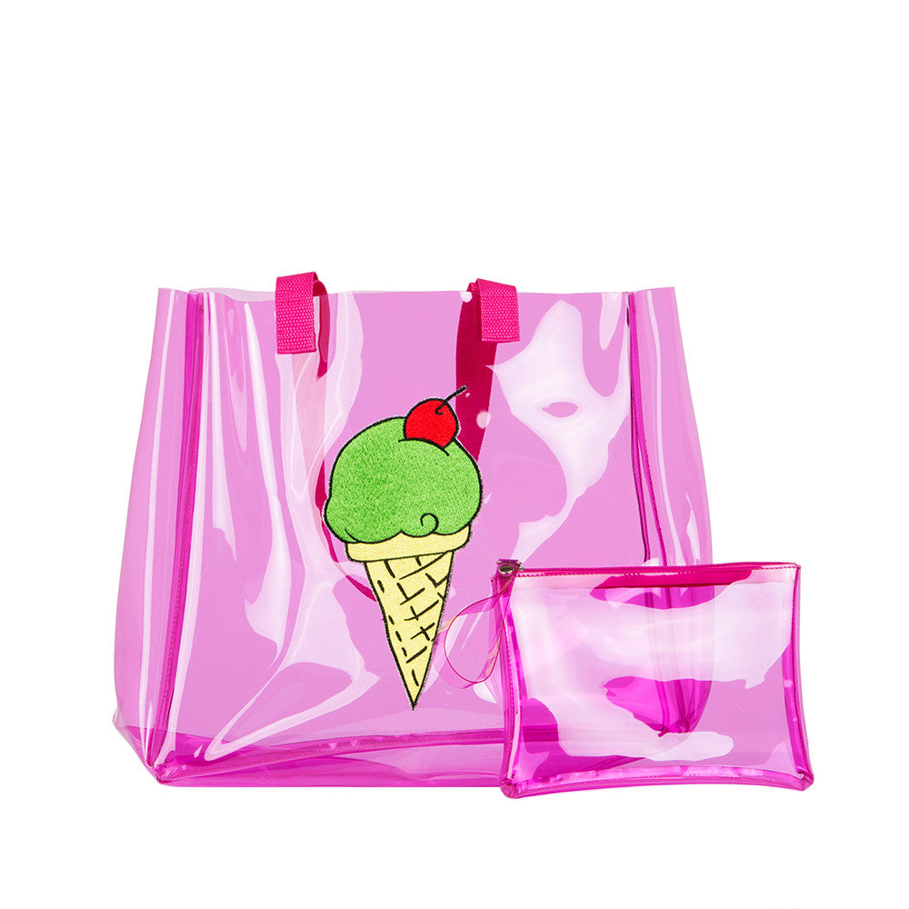 Clear Pink Ice Cream Tote