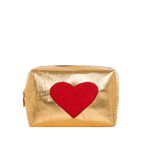 Mini Gold Bag With Red Heart