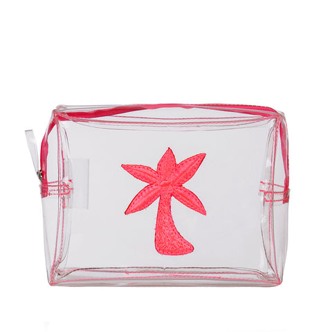 Clear Bag With Pink Palm Tree