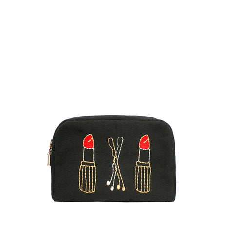 Lips & Clips Double Zip Make-up Bag