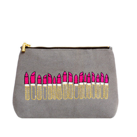 Loads of Lipstick Make-up Bag Grey