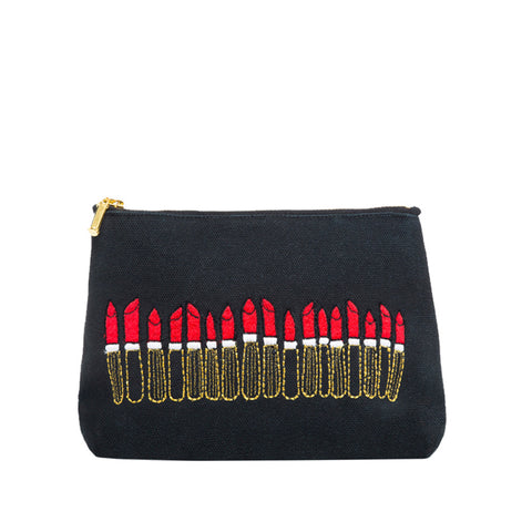Loads of Lipstick Make-up Bag Black