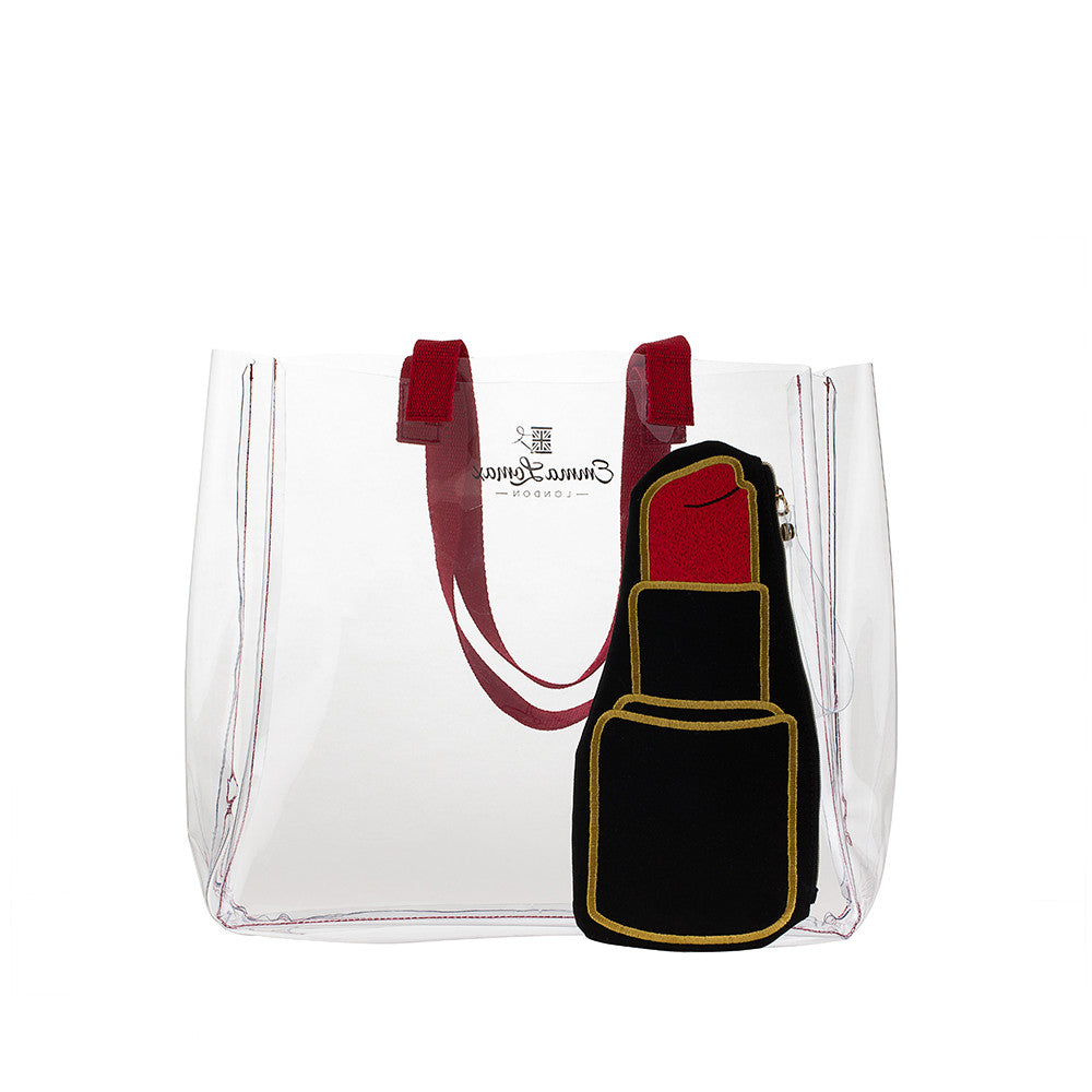 Clear Tote With Lipstick Pop Bag
