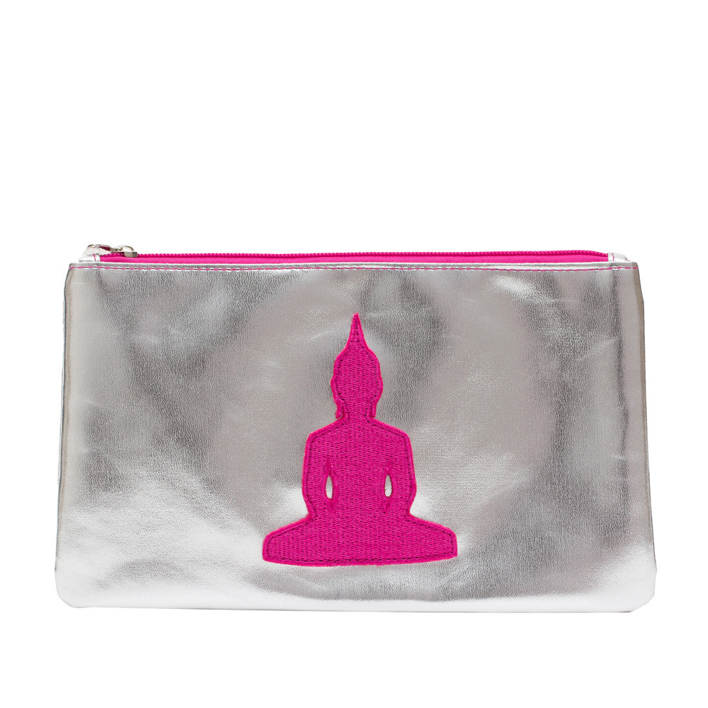 Silver Make-up Bag With Pink Buddha