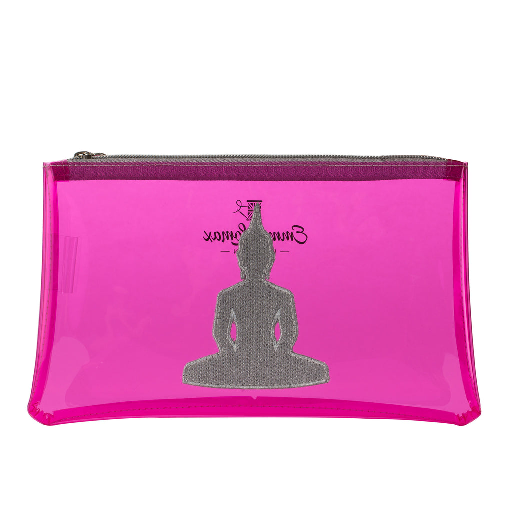 Clear Pink Make-up Bag With Silver Buddha