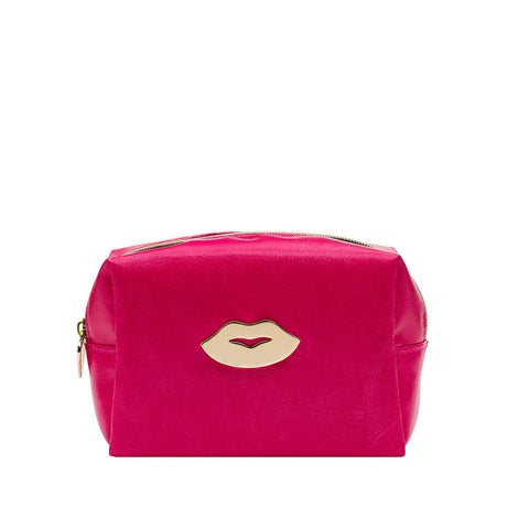 Mini Hot Pink Bag With Gold Lips