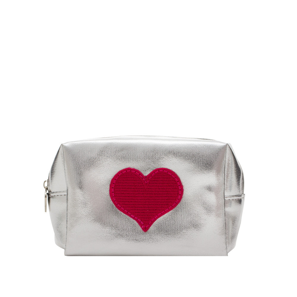 Mini Silver Bag With Hot Pink Heart
