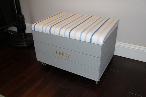 Toy Trunk with Laura Ashley Blue/Pink Striped Fabric padded seat