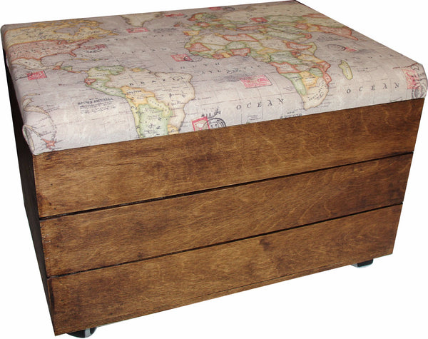Storage Trunk with Vintage Maps padded seat