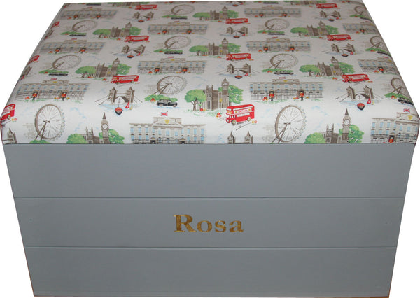 Toy Storage Trunk with Cath Kidston 'London Scene' fabric padded seat
