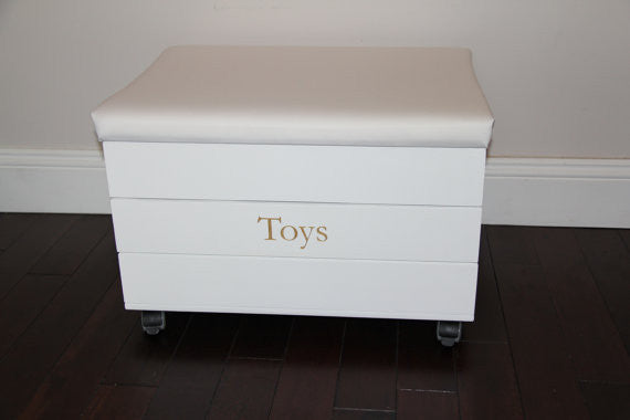 Toy Trunk with Laura Ashley ' Dinosaurs' padded seat
