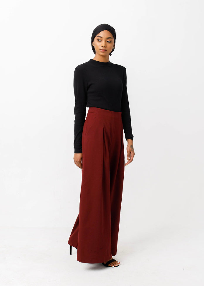 Burgundy Wide Leg Pants