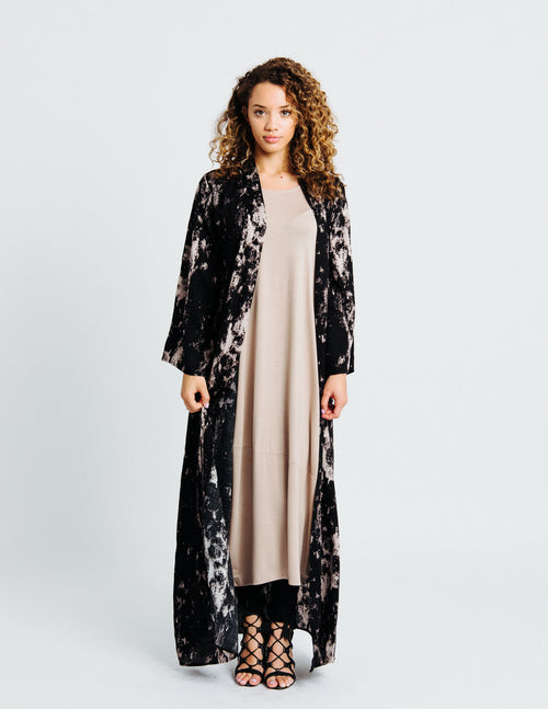 Abaya Cover Up in Beige-Black