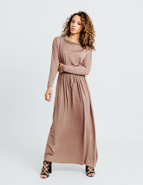Taupe Long Sleeve Maxi Dress