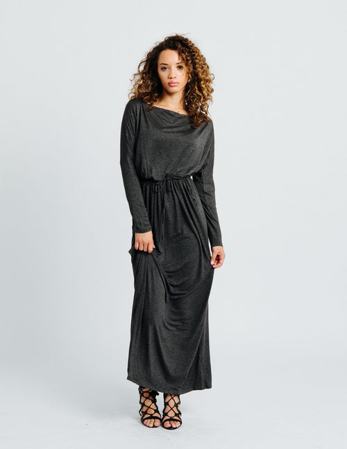 Charcoal Long Sleeve Maxi Dress