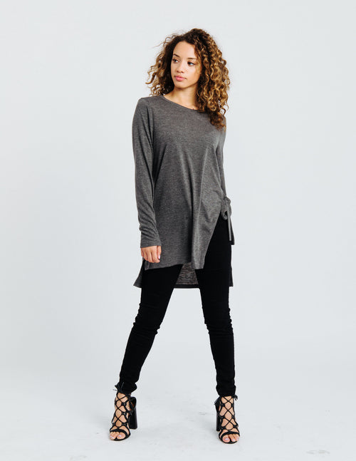 Charcoal Side Tie Tunic