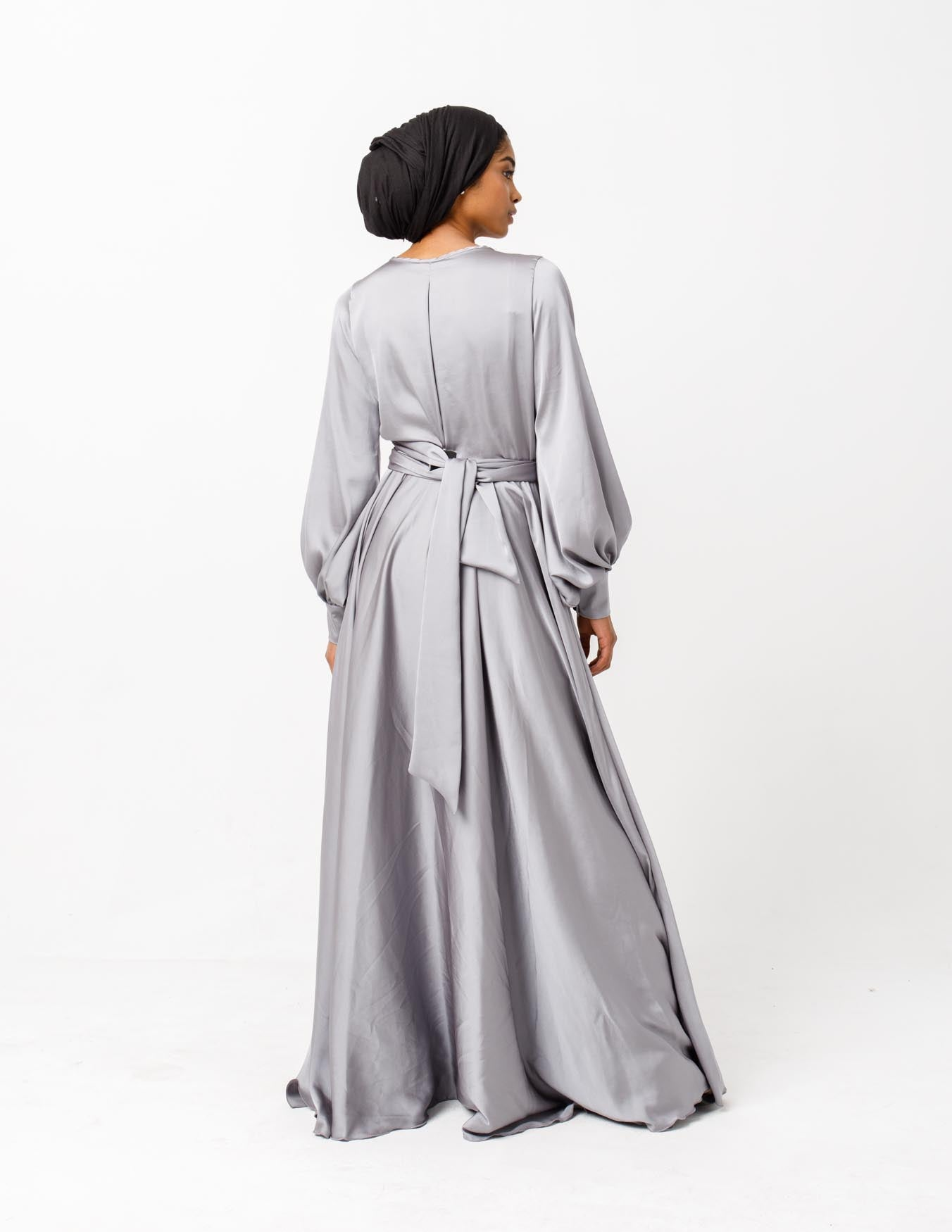 Sireen Belted Chiffon Maxi Dress in Grey