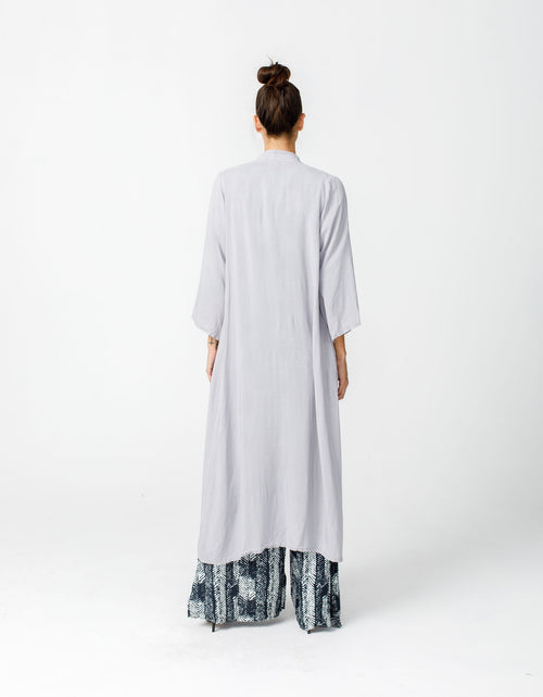 Abaya Cover Up in Grey Linen