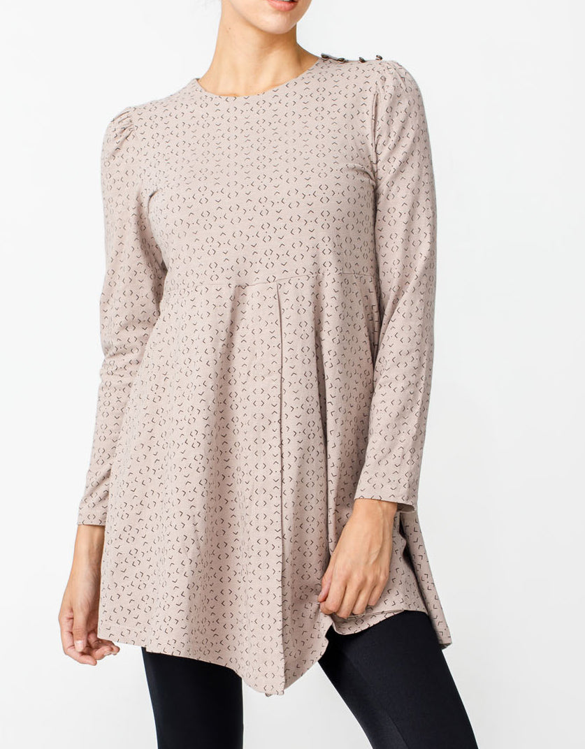 Zahra Tunic Top - Taupe Geo