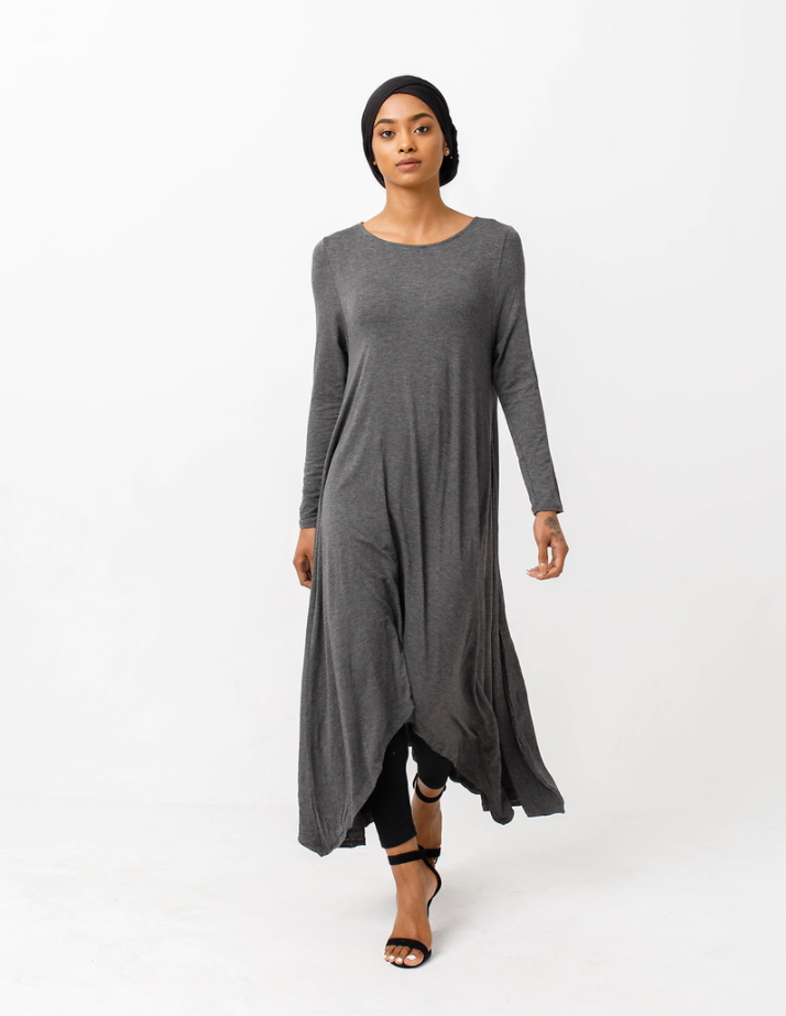Charcoal High Low Dress