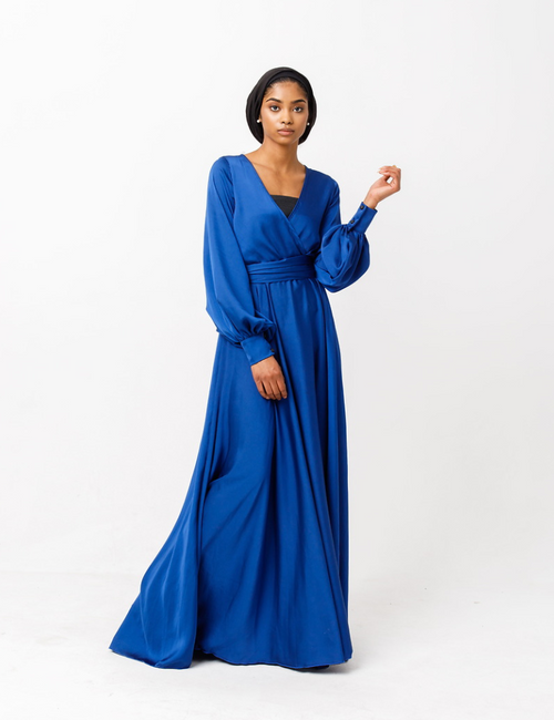 Sireen Belted Chiffon Maxi Dress in Blue