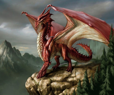 Dragon rouge sur sa montagne - Kit de diamond painting - 33x40 à 50x60 cm