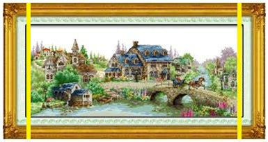 Un petit village d'ancienne Europe - Kit de broderie - 176x38 à 22x46 cm