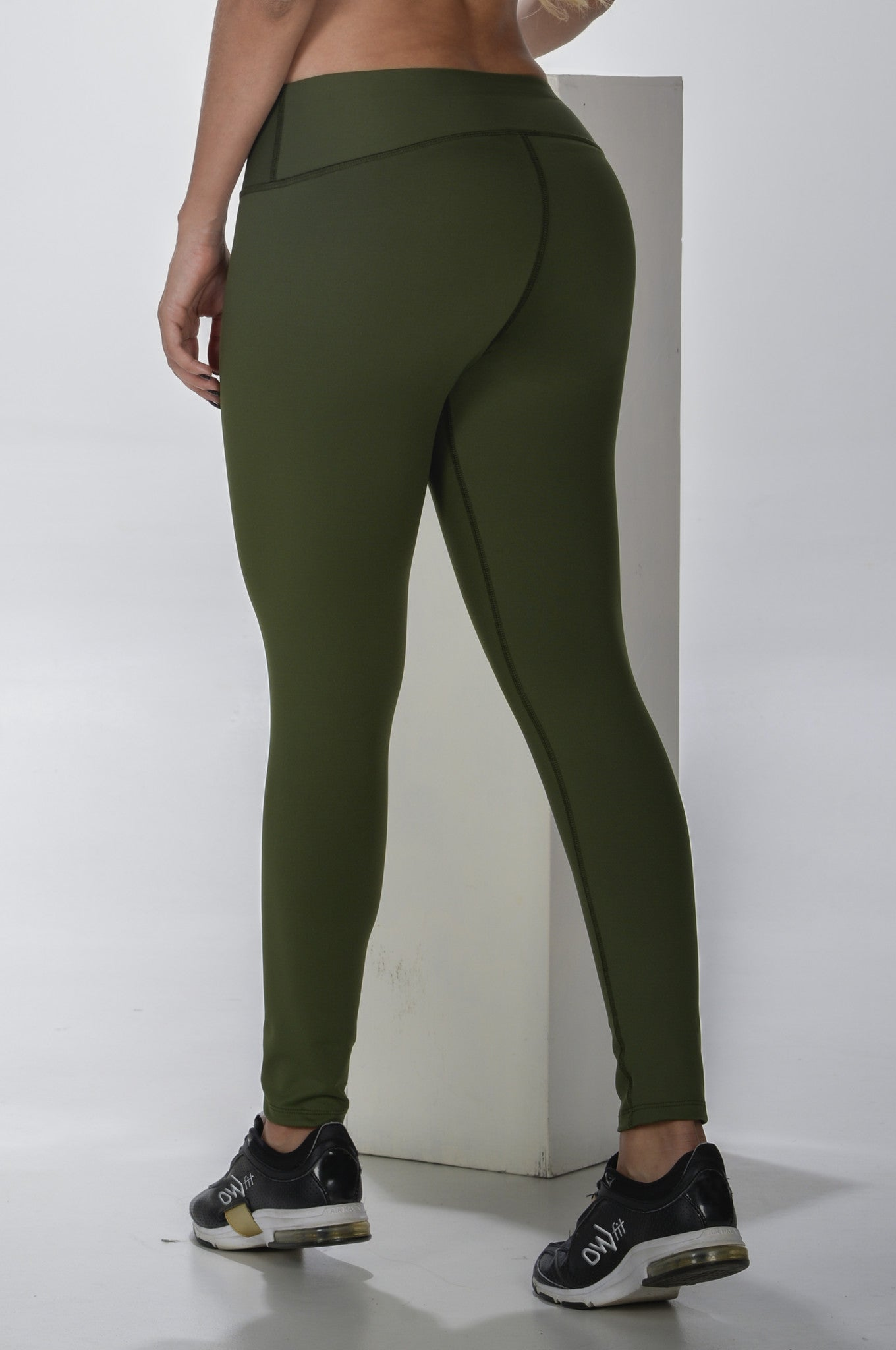 green olive training leggings