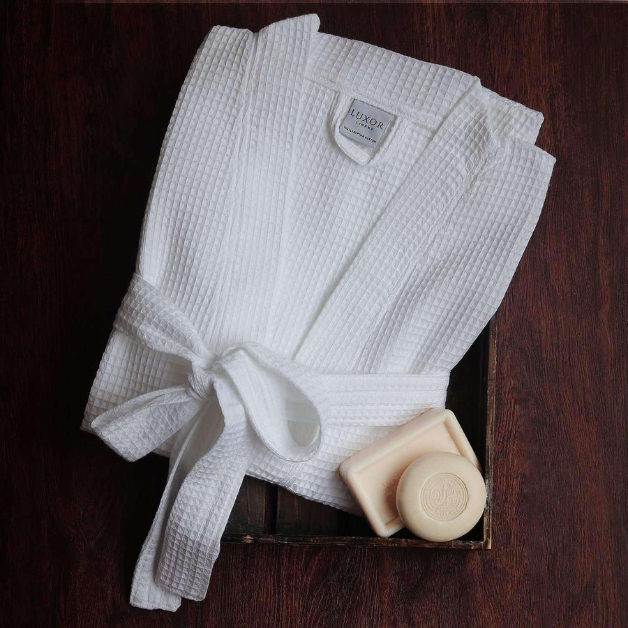 Lakeview Signature Egyptian Cotton Resort Waffle Spa Robe - Wedding/Anniversary Collection - Luxor Linens