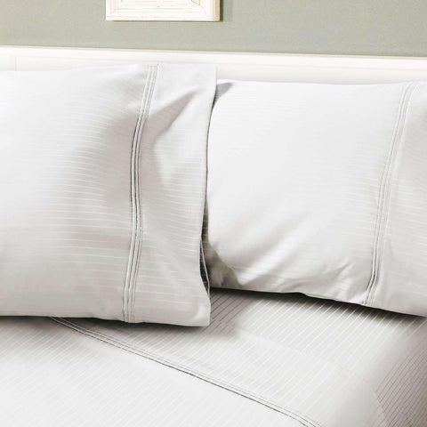 Leonardo 1200 Thread Count Egyptian Cotton Stripe Luxury Pillow Cases - Luxor Linens