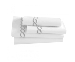 Pisano Eucalyptus Percale Chocolate Embroidered Sheets - Luxor Linens