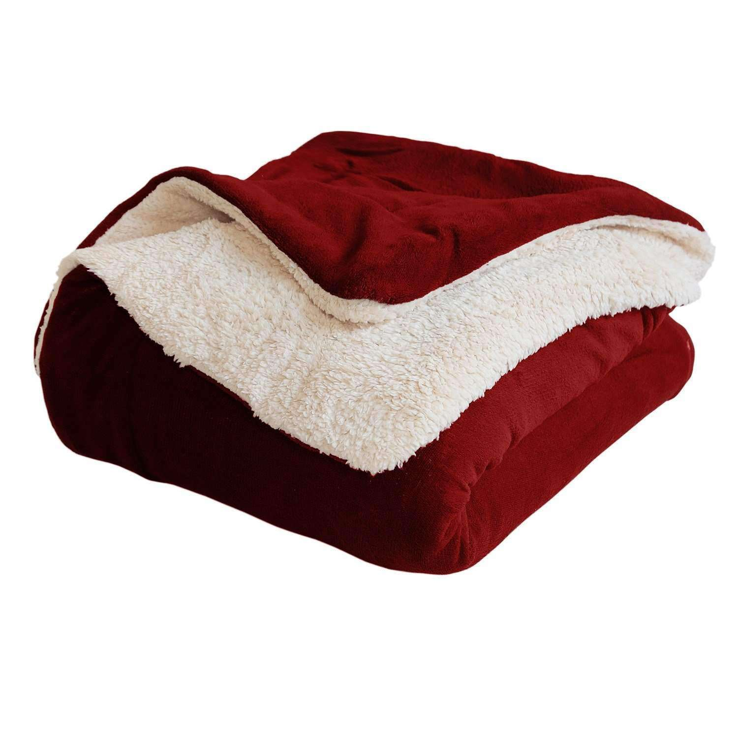 Burgundy Queen Sherpa Blanket