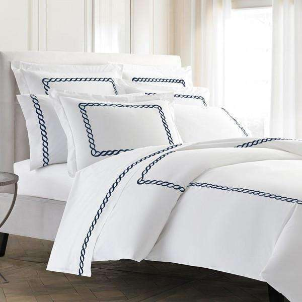 Pisano Eucalyptus Percale Embroidered Duvet Cover - Luxor Linens