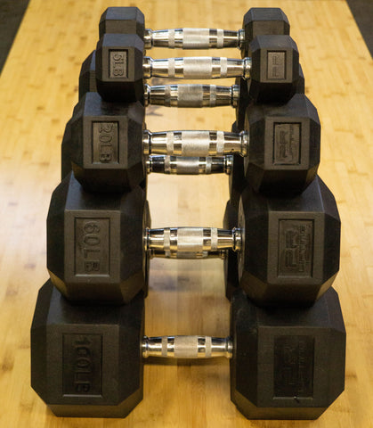 Rubber Hex Dumbbells (Sold in Pairs)