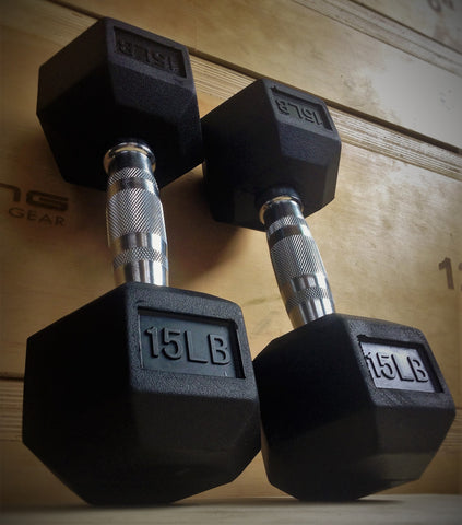 Rubber Hex Dumbbell Set (5-50 LB)