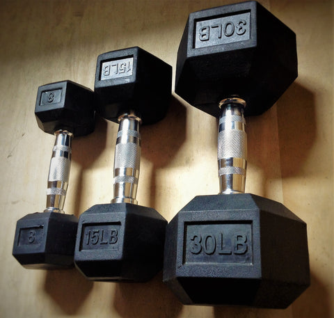 Rubber Hex Dumbbell Set (55-100 LB)