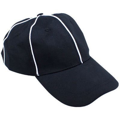 Official Black with White Stripes Referee / Umpire Cap
