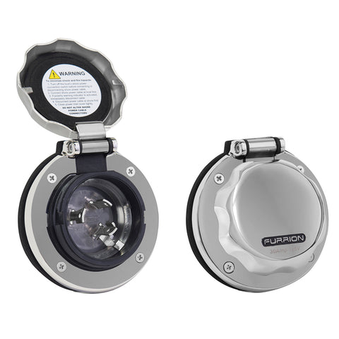 Furrion 30A Stainless Steel Round Inlet w/Powersmart LED - F30ITS-SS