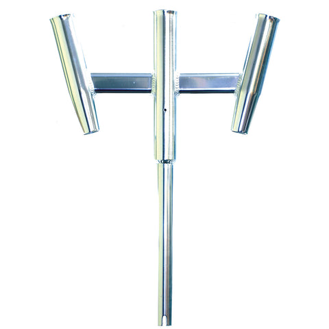 Tigress Triple Aluminum Kite Rod Holder - Straight Butt - Polished - 88159