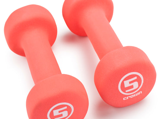 Pair of 5lb Salmon Neoprene Body Sculpting Hand Weights