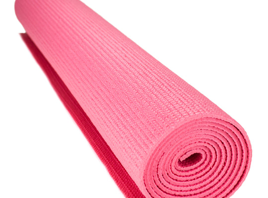 1/8-inch (3mm) Compact Yoga Mat with No-Slip Texture - Pink
