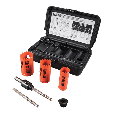 Klein Tools 3-Piece Electrician's Hole Saw Kit w/Arbor - 32905