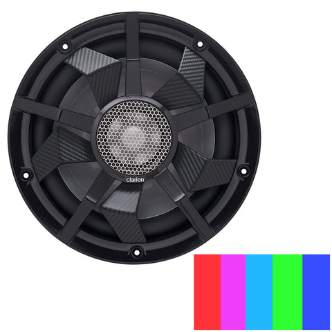 "Clarion 10"" Marine Subwoofer w/Black and Silver Grilles - CM2513WL"