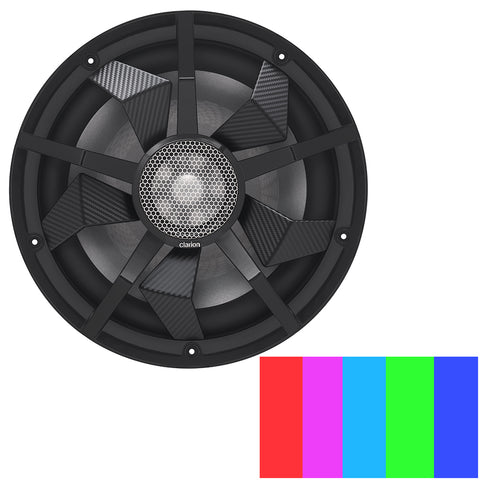 "Clarion 12"" Marine Subwoofer w/Black and Silver Grilles - CM3013WL"