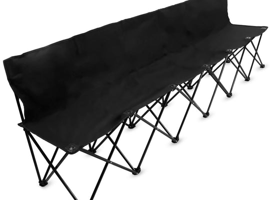 8-Foot Portable Folding 6 Seat Bench with Back, Black