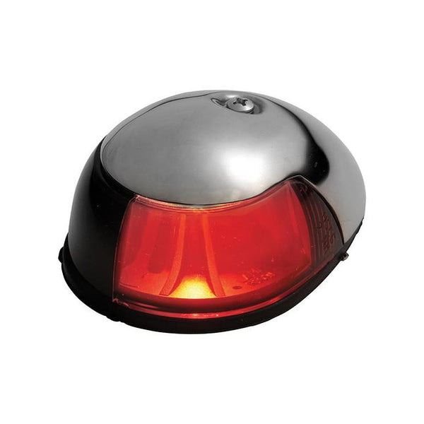 Attwood 2Mile Deck Mount, Red Sidelight  12V  Stainless Steel Housing {-}-