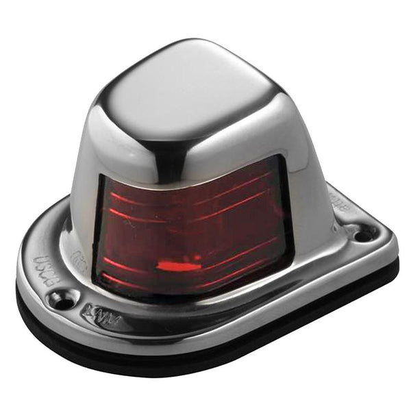 Attwood 1Mile Deck Mount, Red Sidelight  12V  Stainless Steel Housing {-}-